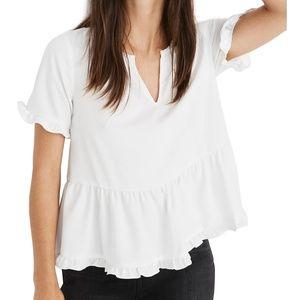 Madewell White Short Sleeve Peplum Ruffle Hem Top